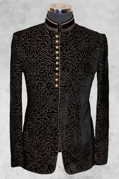#Black graceful #velvet suit with bandhgala collar-ST464