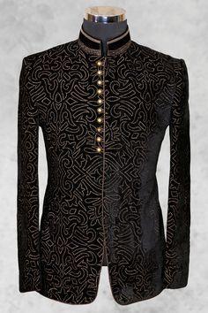 #Black graceful #velvet suit with bandhgala collar-ST464