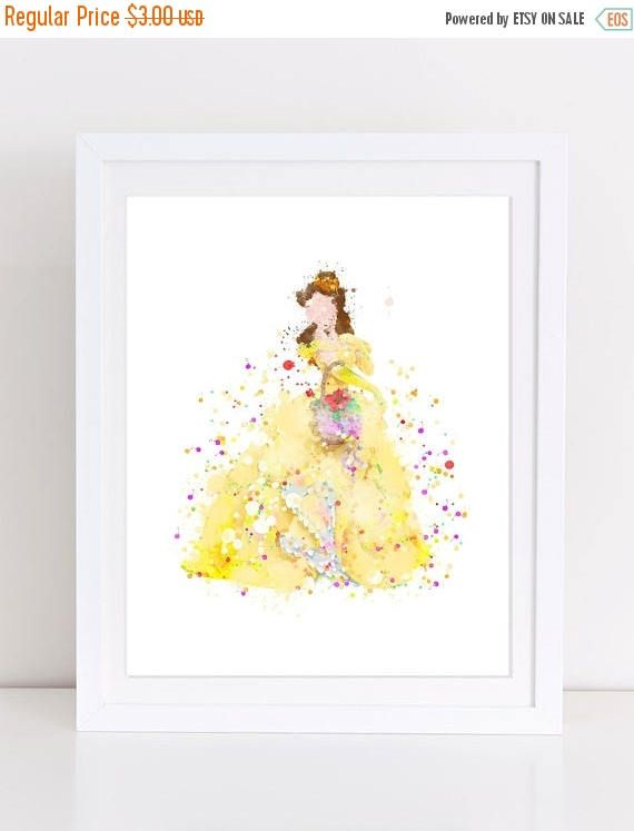 70%OFF Beauty And The Beast Poster Watercolor Nursery Wall Art