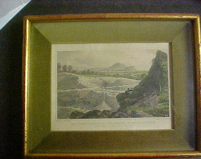 REDUCED Scottish Rare Hand Colored Print Drawn by Tho H Shepherd and Engraved by W Wallis 1900s ( Stone Quarries Craigleith, Near Edinbutgh)