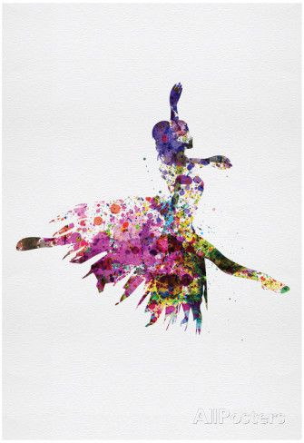 Ballerina on Stage Watercolor 4 Pôster
