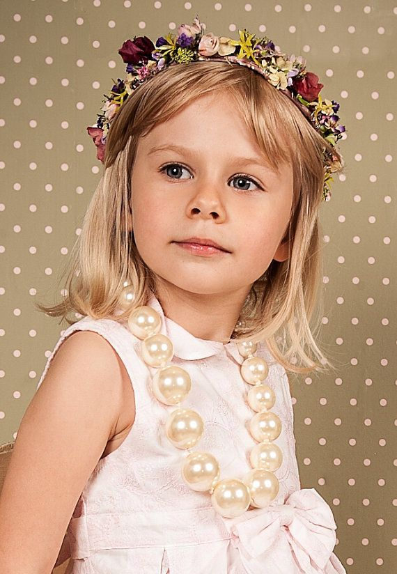 Little ladies floral headband floral wreath by FlorangeDeXeni