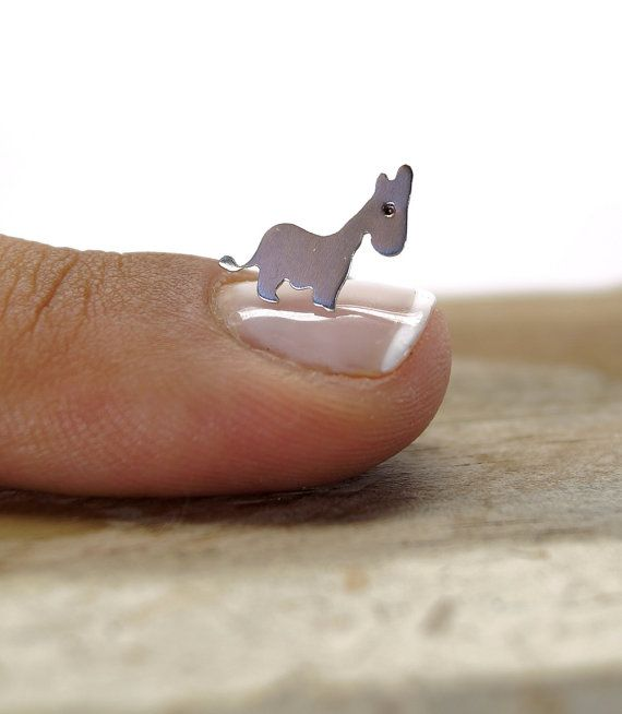 Tiny donkey sterling silver stud earrings  Hand saw by ONEIROXORA...Want these cuties.