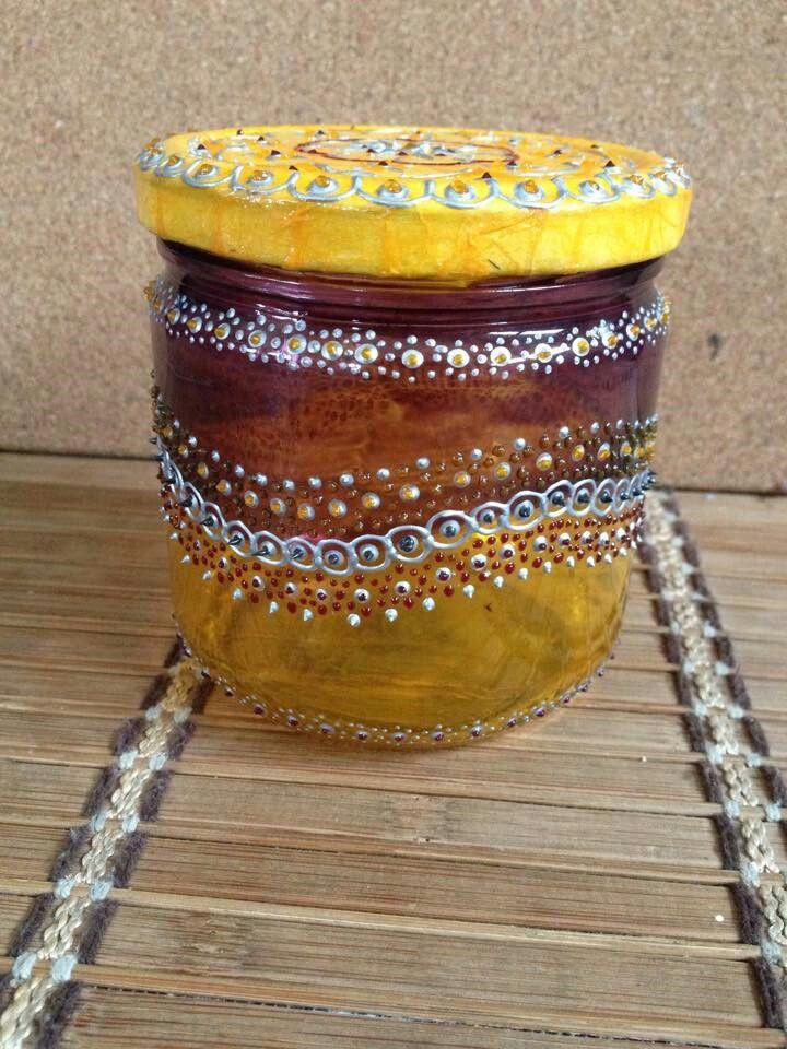 Pot en verre peint a la main peinture sur verre - Peinture sur plateau en verre ...