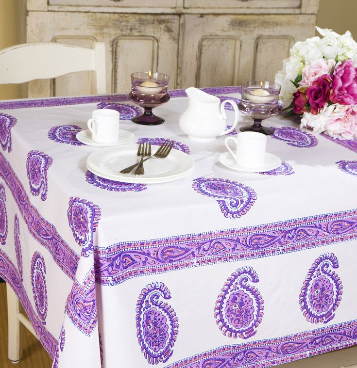 Paisley Tablecloth   Hand Block Printed From Attiser
