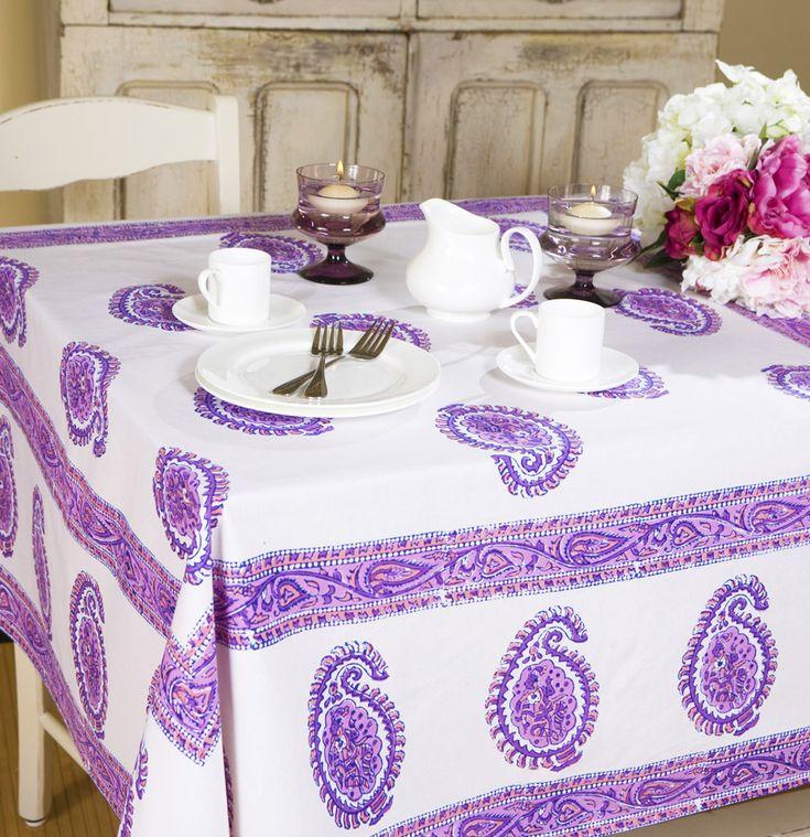 Unique, Bright, Cheerful Bohemian Tablecloth  Purple Paisley Tablecloth  Indian  Tablecloth  Hand