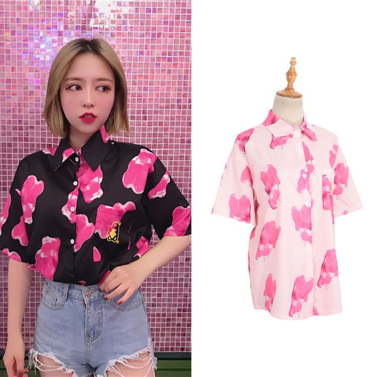 Women Blouse Bear Shaped Printed Round Collar Short Sleeve Casual Summer Top