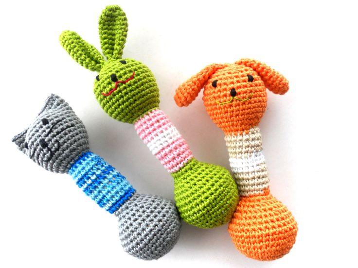 Baby Teething toy Amigurumi Doggy Rattle Crochet animal toy Baby shower gift Organic toy. $15.00, via Etsy.