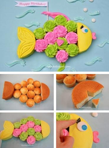 Un gateau d'anniversaire en forme de poisson et fait à partir de cupcakes #birthdaycake