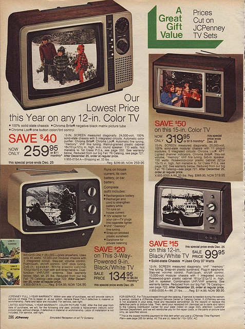 """$319 for a 15 inch color TV...and that's the """"special price."""""""