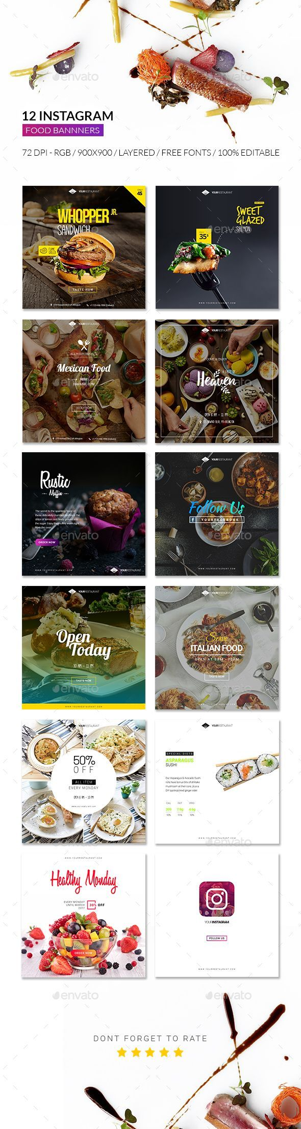 Food Instagram Promotional Design Template - Banners & Ads Web Elements Design Template PSD. Download here: https://graphicriver.net/item/food-instagram-promotional-template/19393488?ref=yinkira
