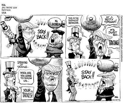 KAL  (2017-04-21)  USA: TRUMP TAXES NORTH KOREA KIM JONG UN TAX IRS STAY BACK 042017 ÷  Source: Baltimore Sun - Baltimore, USA ÷  Provider: CartoonArts International / The New York Times Syndicate