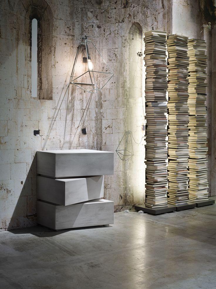 #ConTradition #lantern design #SaraBernardi , #PtolomeoLight #bookshelves by #BrunoRainaldi and concrete special edition for #5blocks #container by #LapoCiatti - #iSaloni2014 #Milan #furniturefair