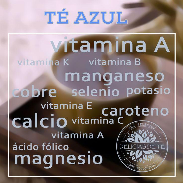 5 tipos de té y sus beneficios para la salud. Infografía Té Azul Oolong. Vitaminas y Minerales.