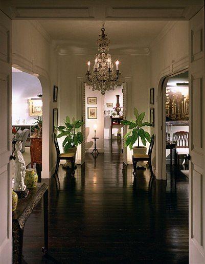 Claudette Colbert's fab Barbados tropical villa 'Bellerive' in Speightstown!~: Chandelier, Oscars Winners, Barbados Residence, Dark Floors, Floors White, The Beach, Plantation Houses, Bethany Linz