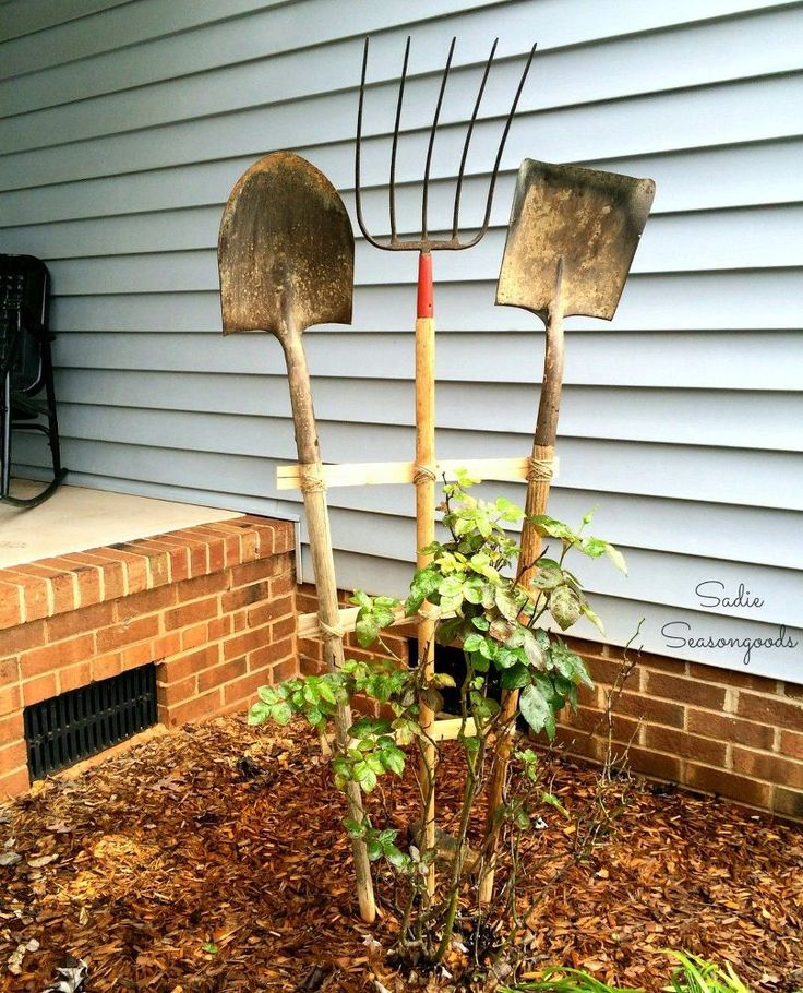 Build a Trellis from Old Garden Tools