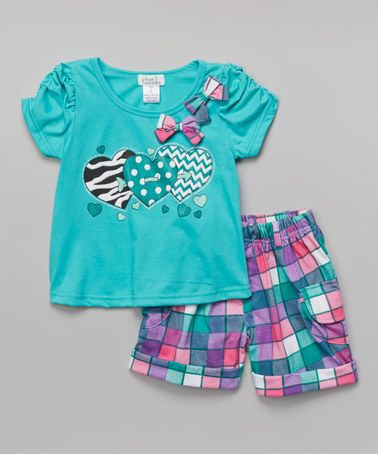Look at this #zulilyfind! Teal Heart Top & Plaid Shorts - Toddler & Girls #zulilyfinds