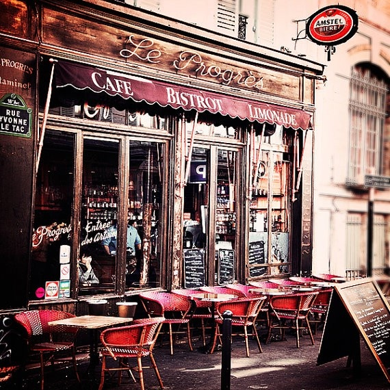 Paris photograph le progres cafe parisian bistro wall for Le miroir restaurant montmartre