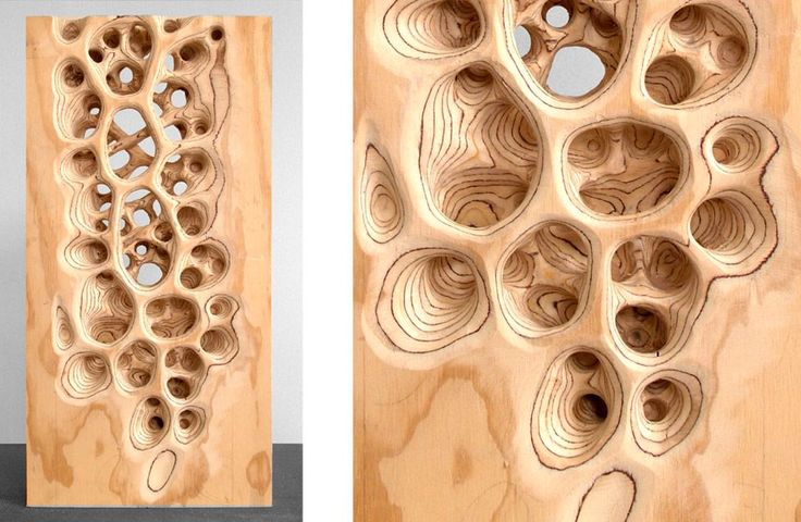 Michael Kukla carved wood sculptures. Carved plywood...