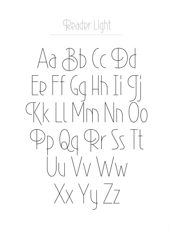 Reader Typeface...I really like this EXCEPT capital B, D, K, P, Q, and R because they overstep the curve and breadth of the restrained letters