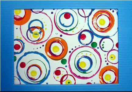 "Encourage your child to try creating art that expresses emotion. The art shown here is inspired by Expressionist artist Wassily Kandinsky's ""Concentric Circles."" Use simple shapes and bold color. You child may want to start with larger shapes, and then create more shapes within shapes. Play with color and suggest that your child select colors that make him/her happy! Older children may wish to experiment with abstract expressionism by creating an image, such as the head shown above. Have…"