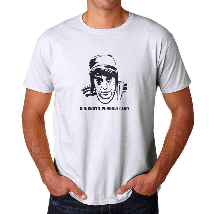 Tee Bangers Que Bruto Pongale Cero Men's White T-shirt. White crew neck short sleeve T-shirt, Que Bruto Pongale Cero quote and Character Mexican Television Sitcom photo.