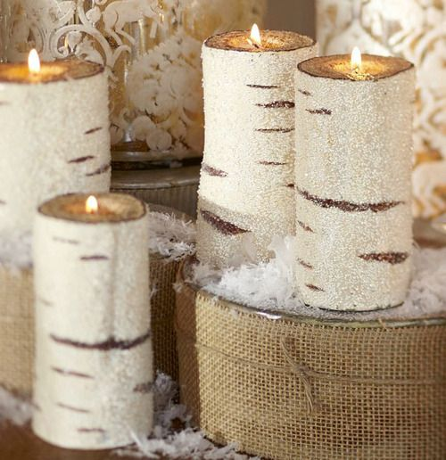 PERFECT for the condo after christmas birch pillar candles just put out a winter feel