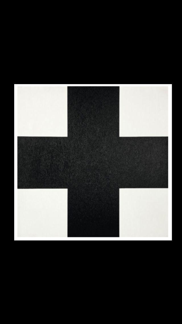 """Aurélie Nemours - """"Signe plus noir"""", 1987 - Huile sur toile - 60 x 60 cm"""