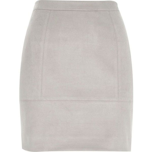 River Island Grey faux suede A-line skirt ($56) ❤ liked on Polyvore featuring skirts, grey, mini skirts, women, gray skirt, grey skirt, a line skirt, gray a line skirt y tall skirts