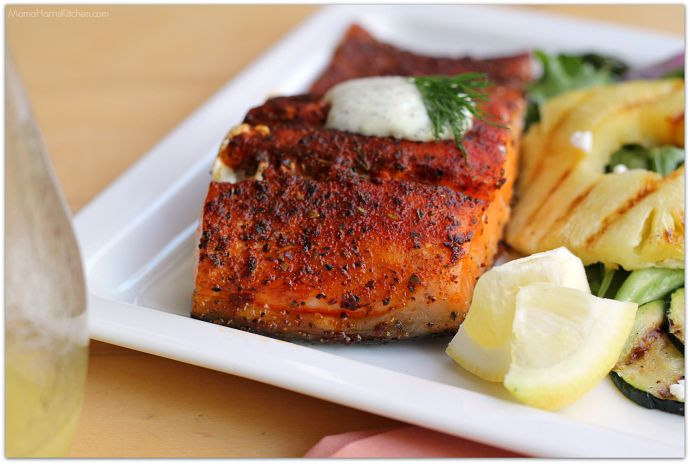 Grilled Blackened Salmon with Creamy Cucumber Dill Sauce #GrillIt AD | Mama Harris' Kitchen