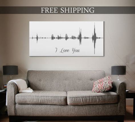15th Wedding Anniversary Gift Voice Print Wave Art A by CanvasVows