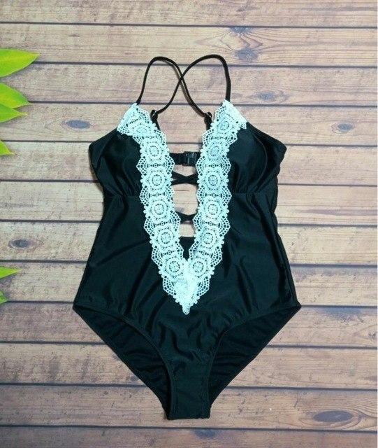 Summer Beach Wear Print Bandage Monokini Swimsuit 2019 Swimwear Women One Piece Swimsuit Bathing Suit Swim Vintage Black XS