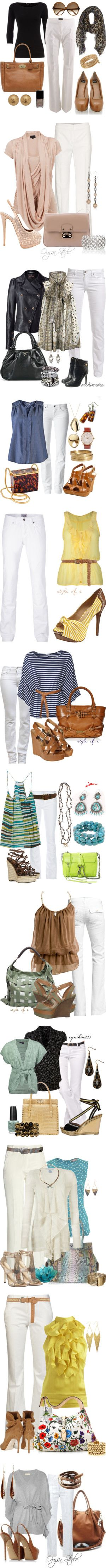 """Heels and White Pants"" by esha2001 on Polyvore"
