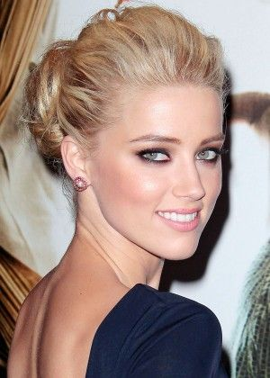 Smoky eyes too. Hair up-do. Amber Heard. Red carpet looks.