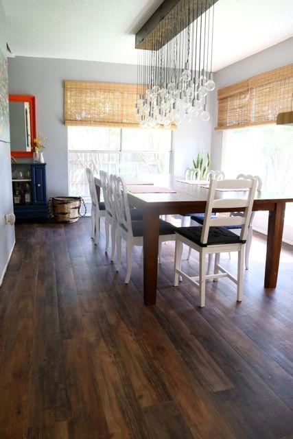 Vinyl (fake wood) flooring in the dining room | Love & Renovations