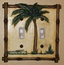 Ceramic Palm Tree 2-gang Light Switch Cover Wall Plate Bamboo Tropical Decor