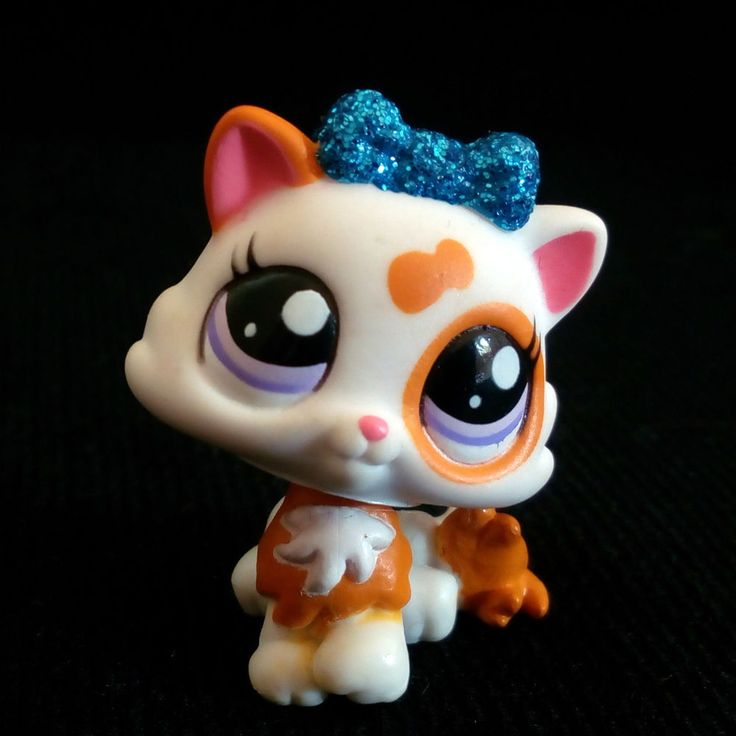 Lps Grey Sitting Cat Blue Eyes