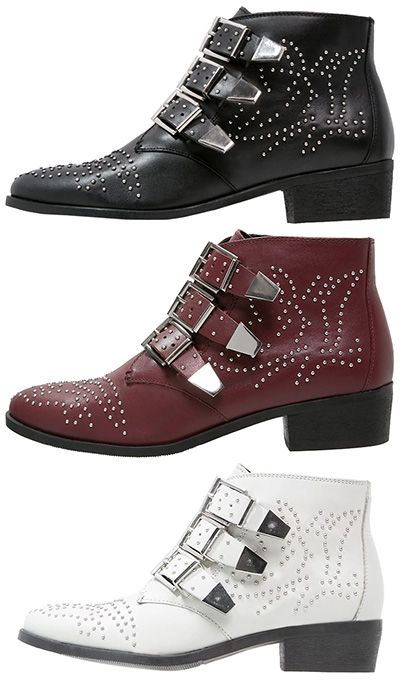 """Bronx """"Reza"""" Studded Ankle Boots in black, burgundy and white, €109.95 (Chloe Susanna dupes)"""