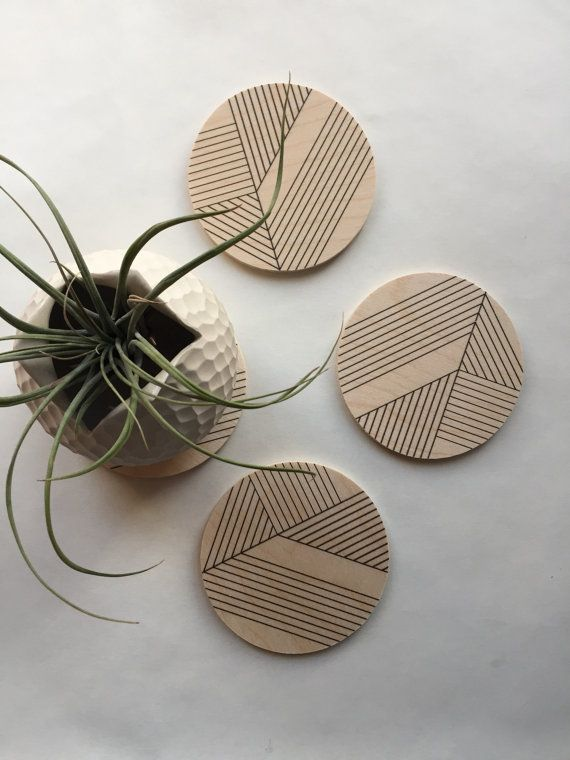 Art deco Geometric wood coasters / midcentury modern coasters/ minimal coasters /geometric coasters / modern decor gift for her/ hostess