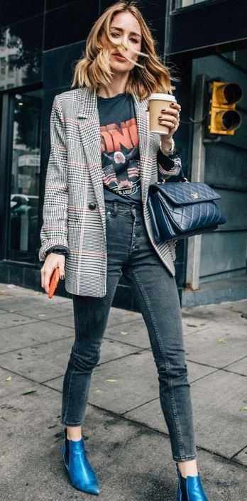 83abd82e7e39 how to style a plaid blazer : printed top + skinny jeans + blue boots + bag  #Skinnyjeans