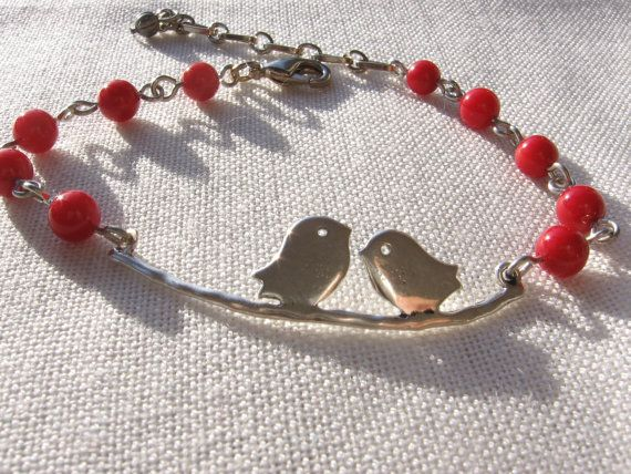 Lovebirds  Silver Charm Bracelet  Red Bamboo Coral by Thielen, $17.95