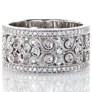 I am completely in love with this ring and would love this and only this for engagement/wedding ring...  Design 2749 - Knox Jewelers - Minneapolis Minnesota - Hand Engraved Wedding Bands - Caledonia, Heirloom Band