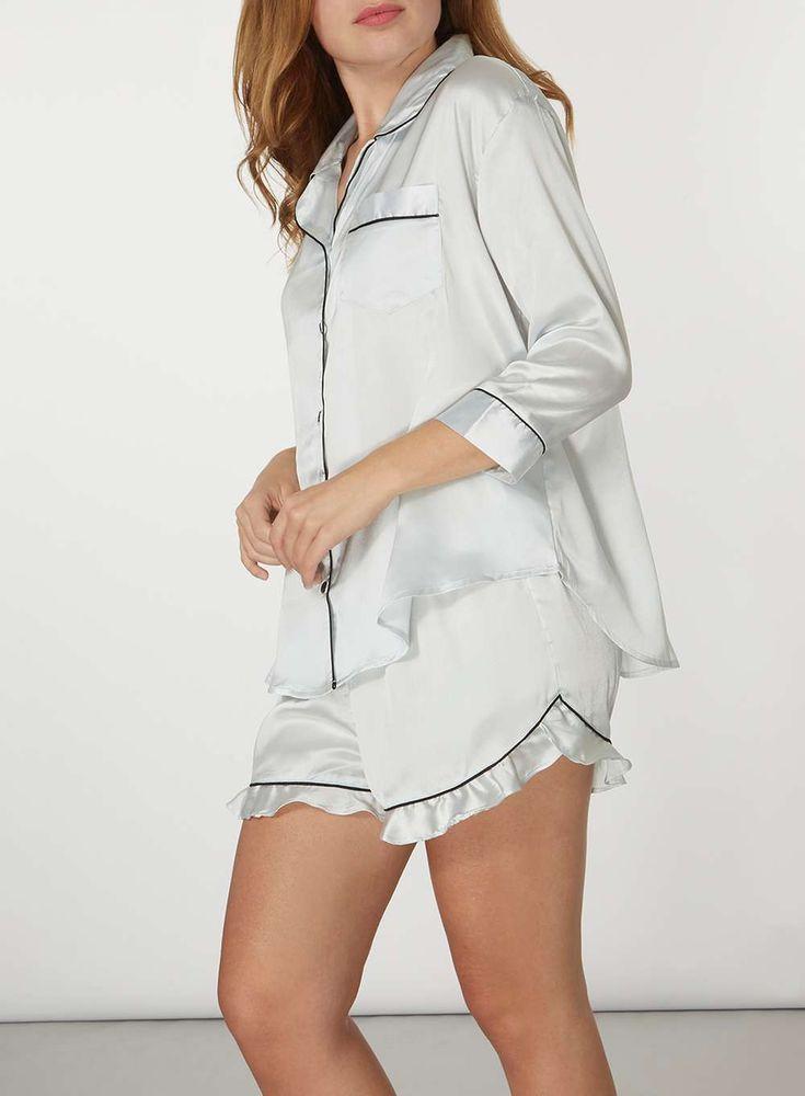 Womens Blue Satin Ruffle Pyjama Set- Blue