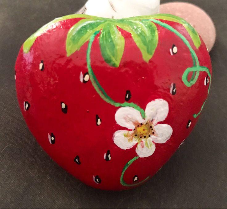 Strawberry Painted Rock, Garden Stone, Home Decor, Kitchen, Art, Collectible & G…