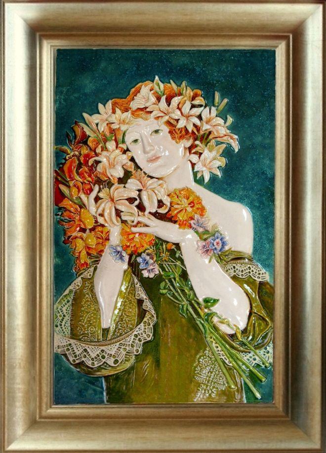 FLOWERS Alphose Mucha /obraz ceramiczny, majolika/ Danuta Rożnowska-Borys