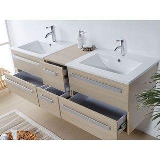 meuble double vasque tiroirs miroir inclus beige madrid achat vente - Double Vasque