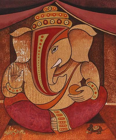 Original Hindu Painting from India - Auspicious Ganapati I | NOVICA