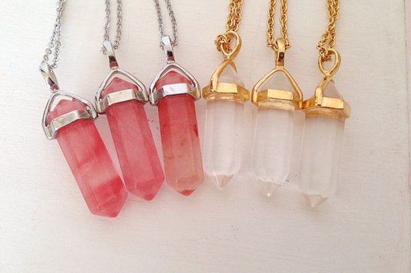 Watermelon Tourmaline & Clear Quart Clairty Point Necklaces Available! $16.00 CA  Healing stones, crystals, gemstones, jewellery, love