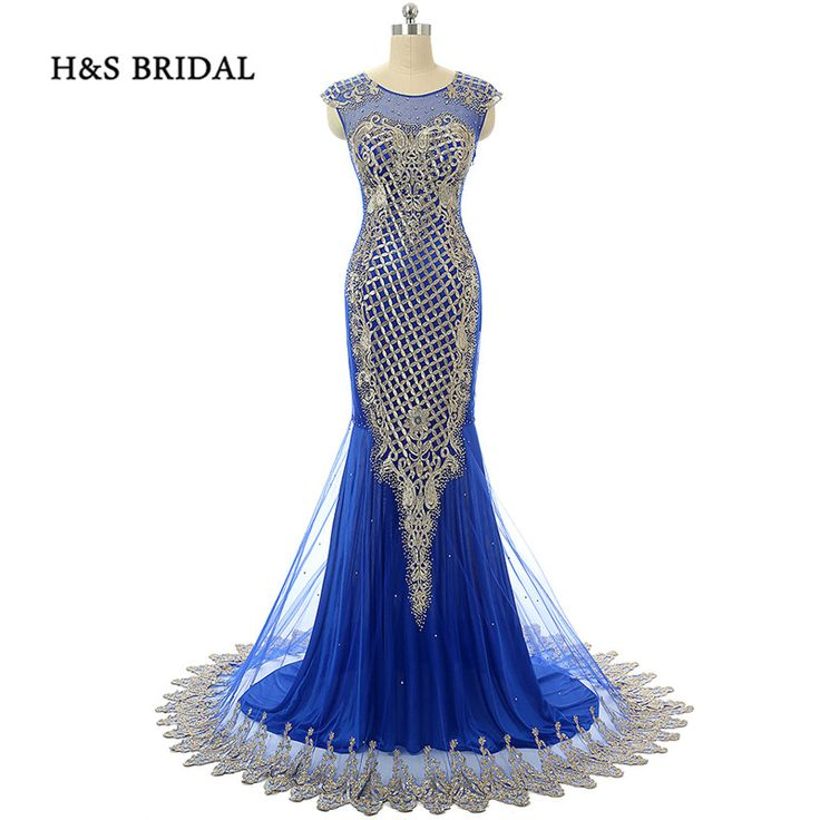 H&S Bridal Gold Appliques Sequins Mermaid Lace Evening Dresses Long Sexy Luxury Real Formal Evening Gowns #Affiliate