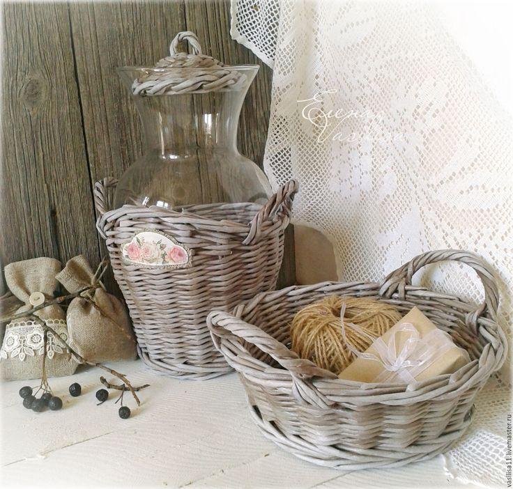 """Купить Кувшин и корзиночка """"Уютный кантри"""" - кувшин, корзиночка, плетеная, набор для кухни, в стиле кантри"""